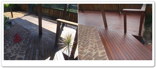 Barbeque surround decking area rejuvenation before & after