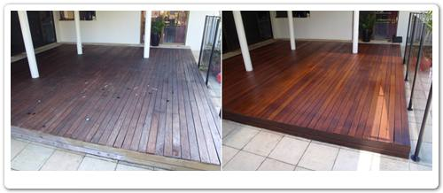 Deck restoration Burleigh Waters before & after