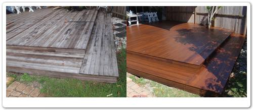 Outdoor timber deck restoration before & after