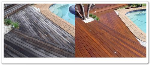 Poolside timber deck restoration before & after