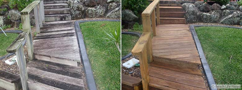 Outdoor stairs and timber path restoration