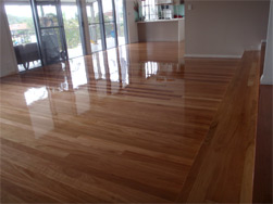 Timber floor coating completed with high gloss finish